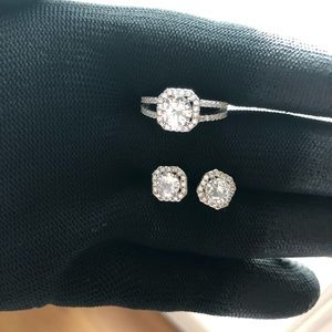 NEW!! 925 Sterling Silver Earring and Ring Set